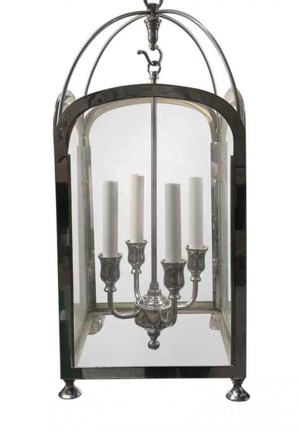 Wall & Ceiling Lanterns - Traditional Nickel Finish Over Brass Foyer Lantern