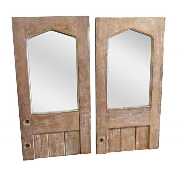Cabinet Doors - Pair of Mirrored Wooden Cabinet Doors 48 x 23.75