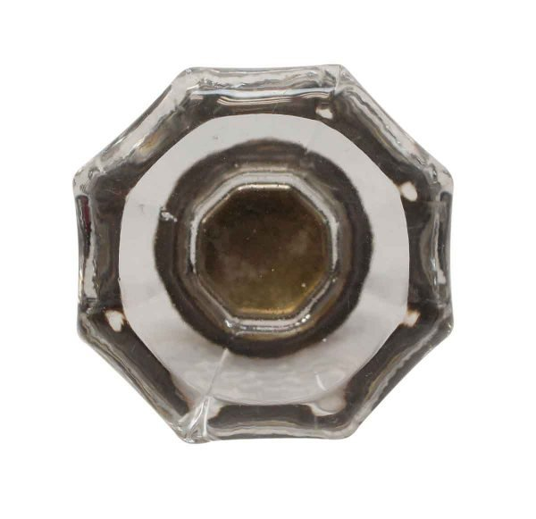 Cabinet & Furniture Knobs - 1.75 in. Vintage Clear Glass Octagon Cabinet Knob