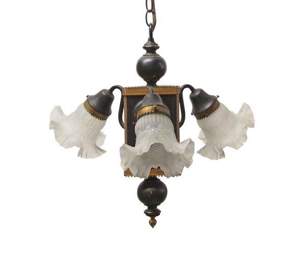 Chandeliers - Victorian Black & Gold Ruffled Shades Foyer Chandelier