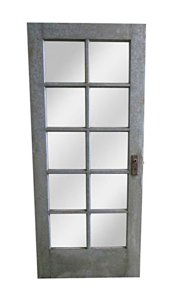 Commercial Doors - Antique 10 Lite Metal French Door 83 x 35.5
