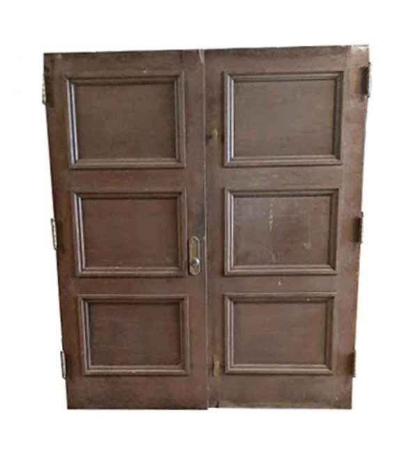 Commercial Doors - Antique 3 Pane Oak & Metal Double Doors 83.5 x 71.5