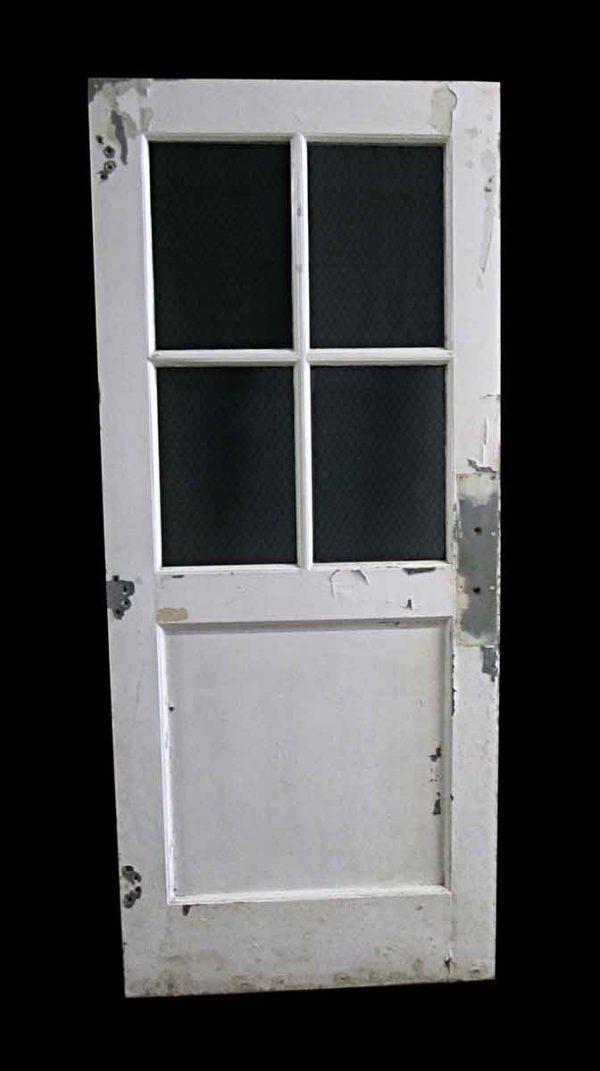 Commercial Doors - Antique 4 Chicken Wire Lite Metal Passage Door 83.25 x 35.5