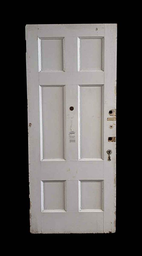 Commercial Doors - Antique 6 Pane White Wood Apartment Door 95.5 x 40.125