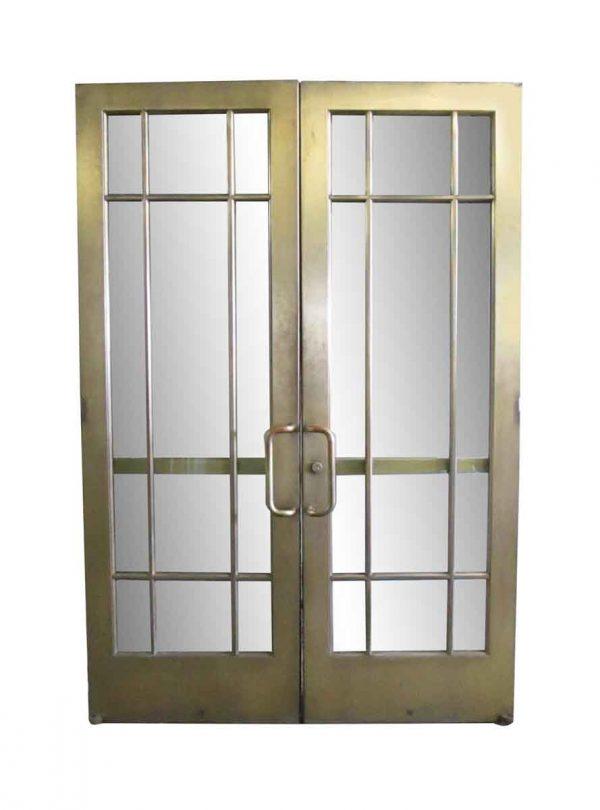 Commercial Doors - Antique 9 Lite Brass Commercial Double Doors 93.75 x 63.5