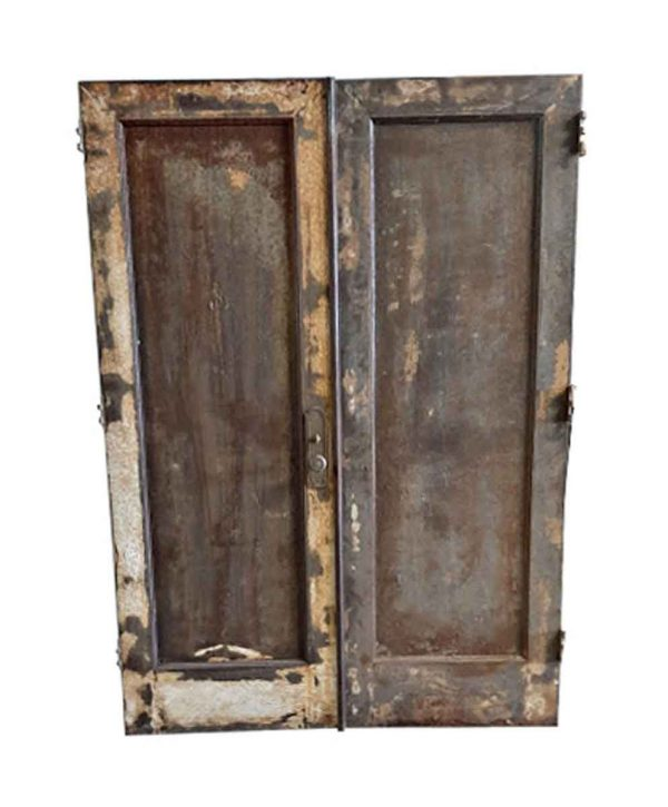Commercial Doors - Antique Single Pane Metal Passage Double Doors 83.5 x 59.5