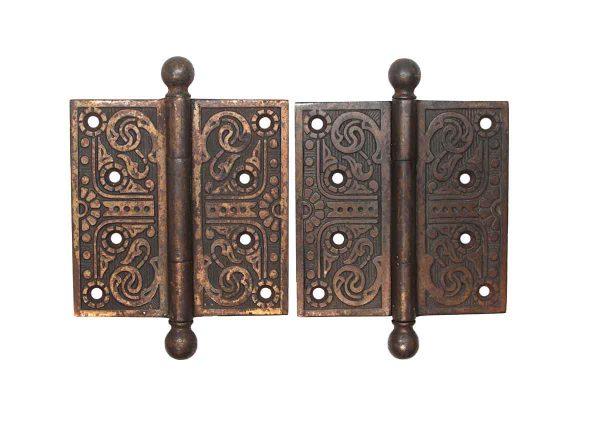 Door Hinges - Pair of Aesthetic Cast Iron Brass Plated 4.5 x 4.5 Butt Door Hinges