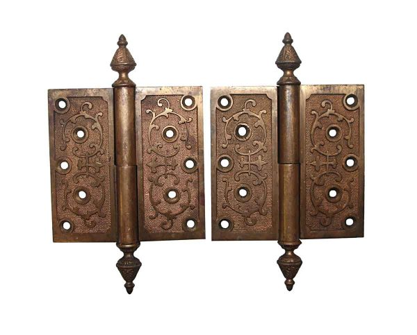 Door Hinges - Pair of Victorian 5 x 5 Left Hand Bronze Butt Door Hinges