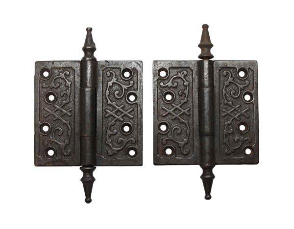 Door Hinges - Pair of Victorian Cast Iron 4 x 4 Butt Door Hinges