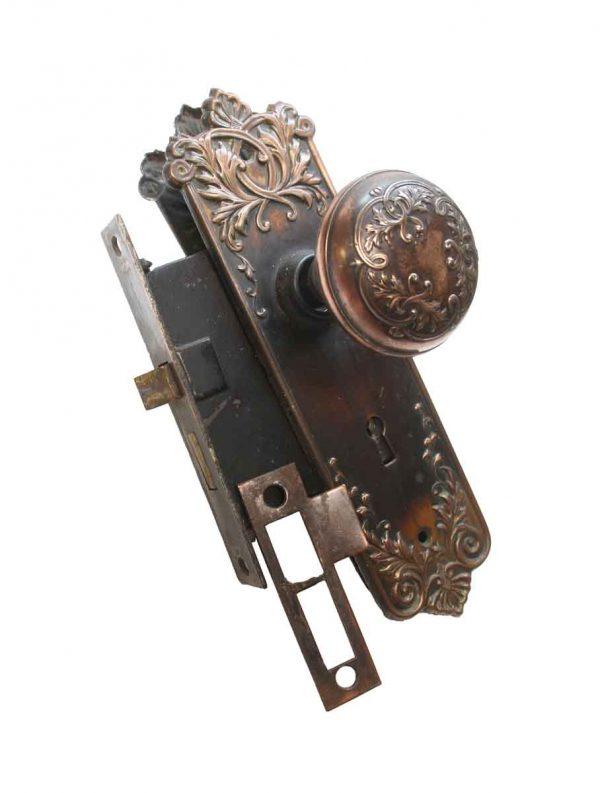Door Knob Sets - Antique Corbin Cast Iron & Steel Loraine Door Knob Set with Lock