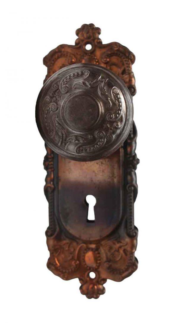 Door Knob Sets - Antique Corbin Holland Steel Door Knob Set