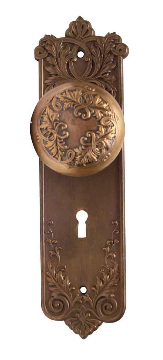 Door Knob Sets - Antique Corbin Loraine Bronze Door Knob Set