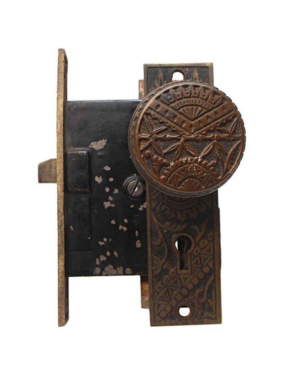 Door Knob Sets - Antique Oriental Brandford Bronze Passage Door Knob Set