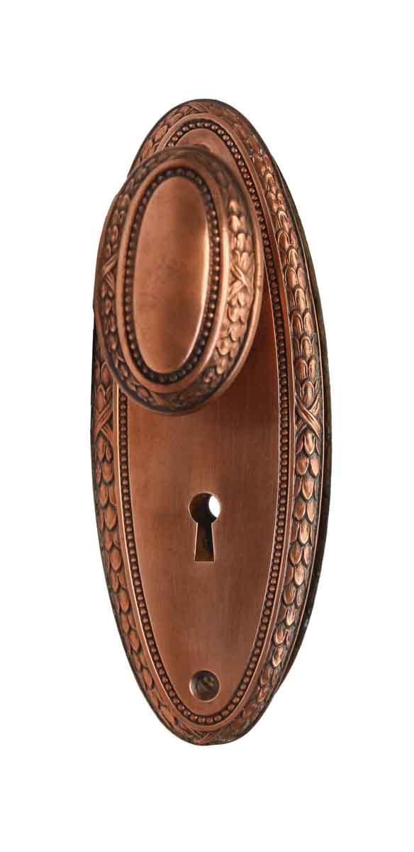 Door Knob Sets - Antique Traditional Bronze Passage Oval Door Knob Set