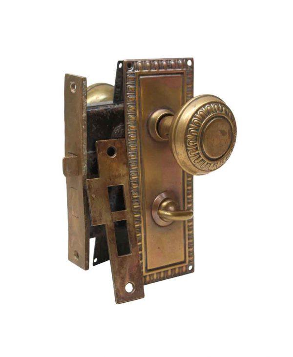 Door Knob Sets - Traditional Brass Egg & Dart Privacy Door Knob Set