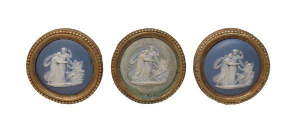 Door Knobs - Set of 3 French Blue & White Porcelain & Brass Doorknobs