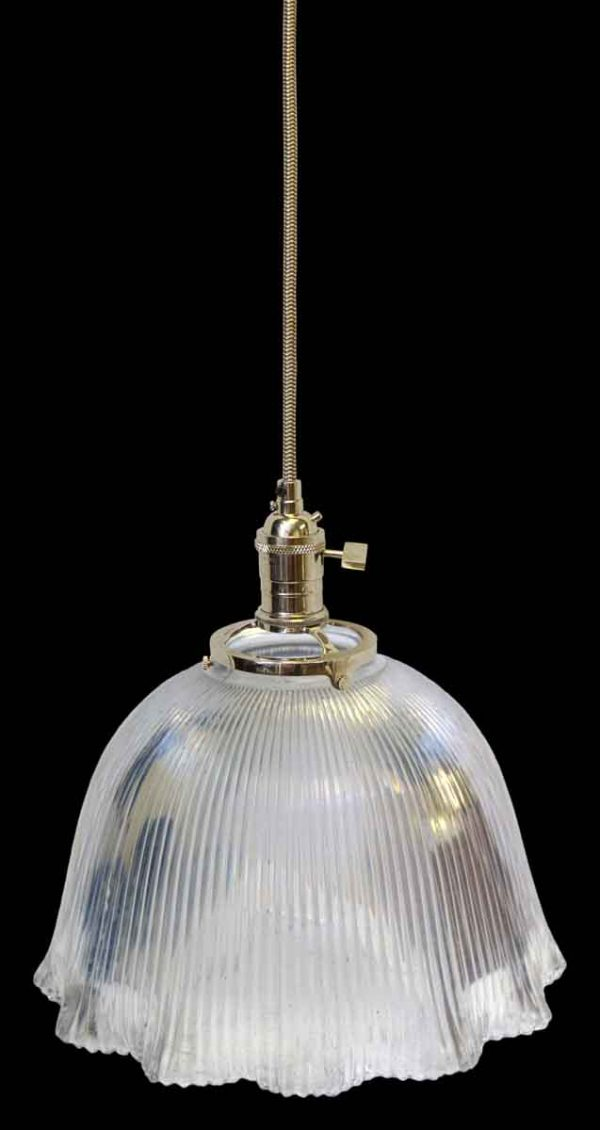 Down Lights - 1920s Antique Ribbed 10.75 in. Holophane Pendant Light