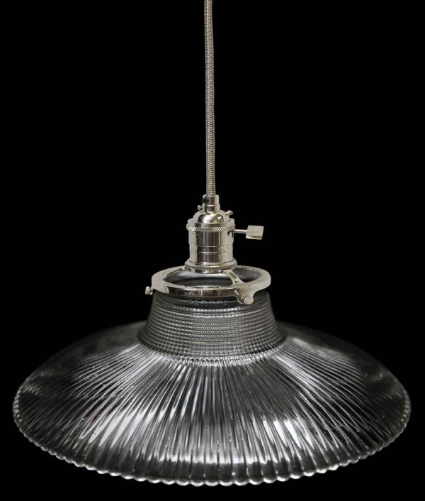 Down Lights - 1920s Holophane 7.5 in. Ribbed Prism Glass Pendant Light