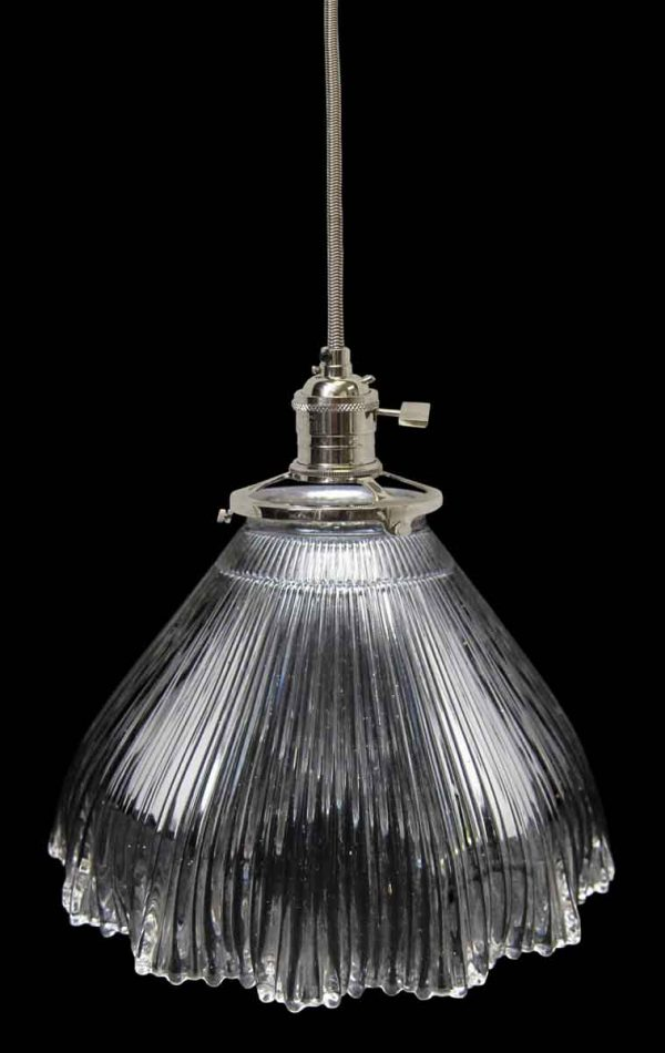 Down Lights - 1920s Holophane Prism 7.25 in. Glass Pendant Light