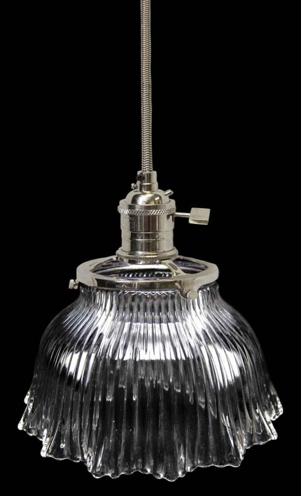 Down Lights - 1920s Ribbed 6.875 in. Glass Holophane Pendant Light