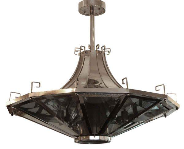 Down Lights - 1950s French Modern 36 in. Chrome & Glass Pendant Light