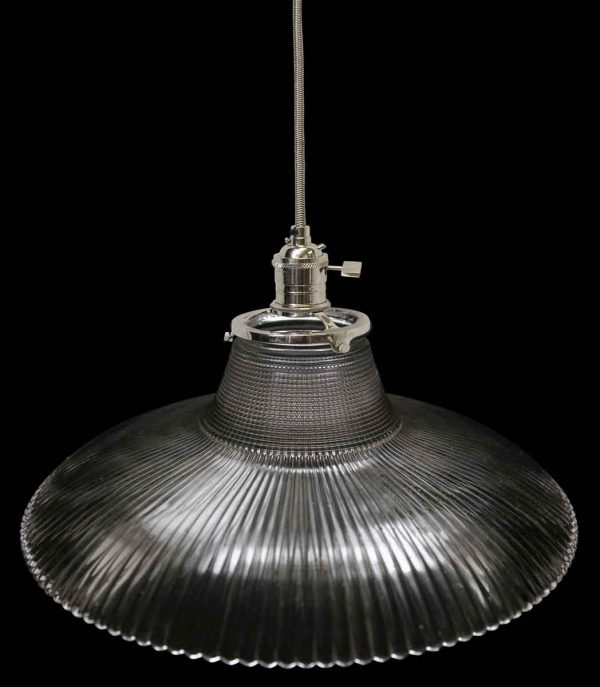Down Lights - Antique 1920s Ribbed 9.125 in. Holophane Pendant Light