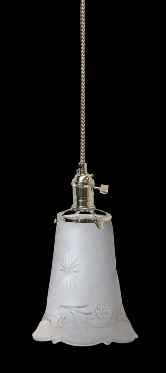Down Lights - Antique Etched Floral Glass 5 in. Globe Pendant Light
