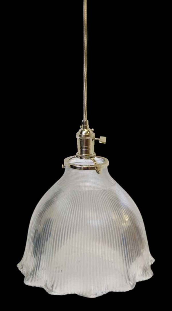 Down Lights - Antique Holophane 10.75 in. Ribbed Glass Shade Pendant Light