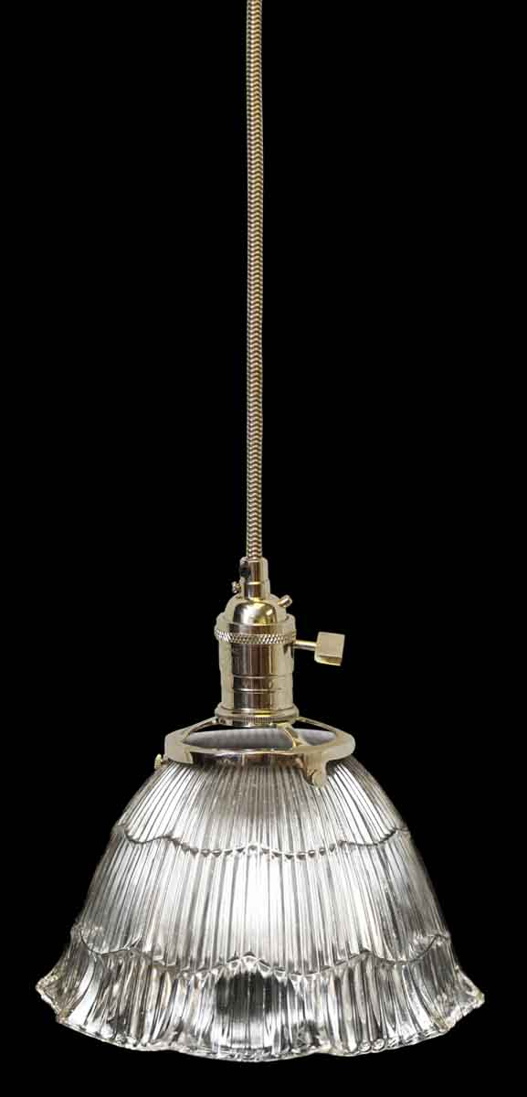 Down Lights - Antique Holophane 6.25 in. Ribbed Glass Shade Pendant Light