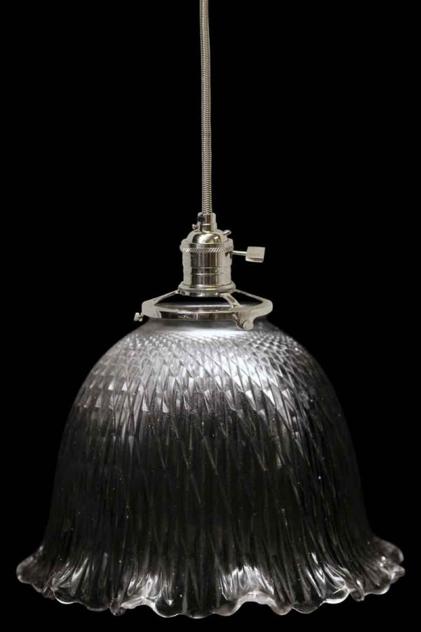 Down Lights - Antique Holophane 6.625 in. Ribbed Glass Prism Pendant Light