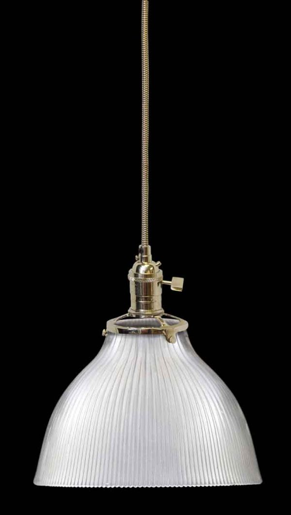 Down Lights - Antique Holophane 7.5 in. Ribbed Glass Pendant Light