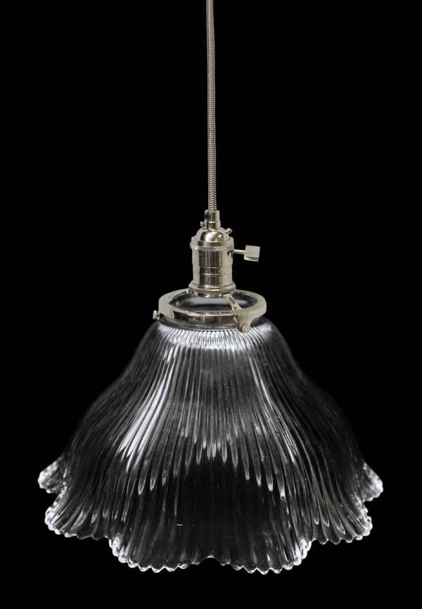 Down Lights - Antique Holophane 7.75 in. Ribbed Glass Pendant Light
