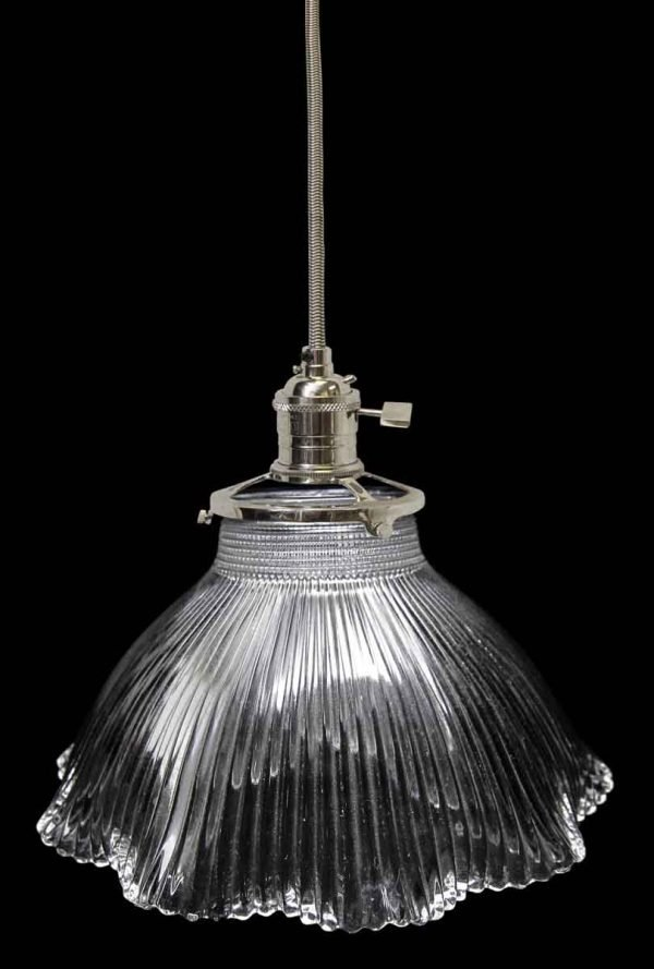 Down Lights - Antique Prism 6.5 in. Glass Holophane Shade Pendant Light