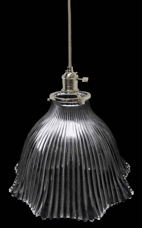 Down Lights - Antique Ribbed 8.5 in. Holophane Pendant Light
