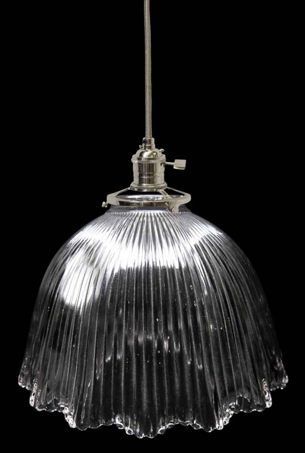 Down Lights - Antique Ribbed Glass 7.5 in. Holophane Pendant light