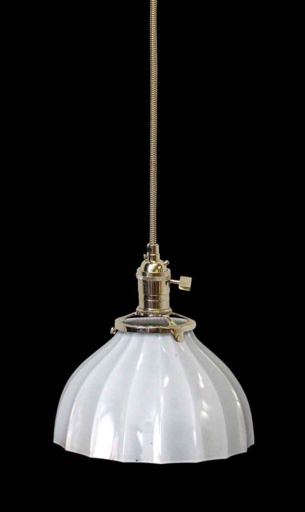 Down Lights - Antique Translucent Milk Glass 7.25 in. Shade Pendant Light