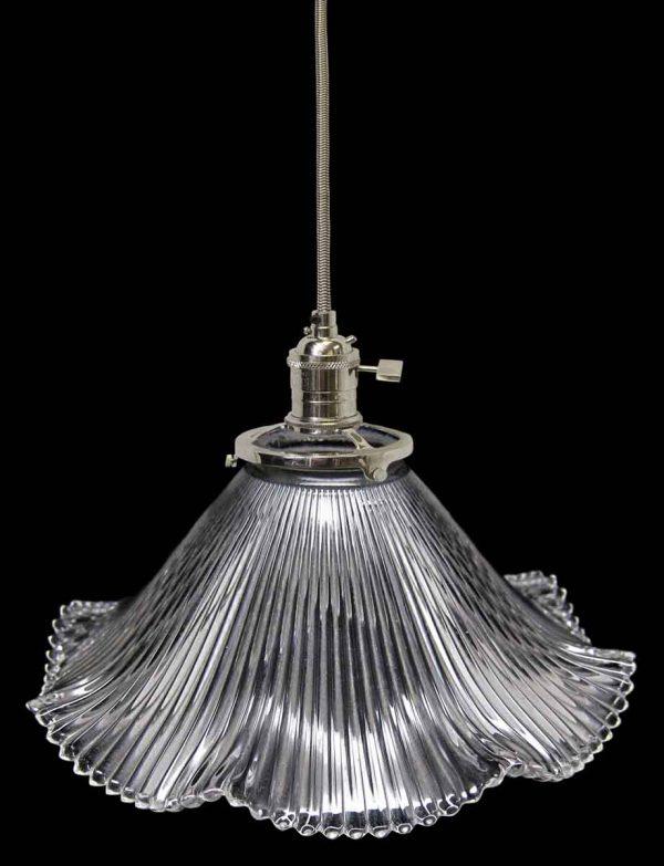 Down Lights - Custom 1920s Holophane 6 in. Clear Glass Pendant Light