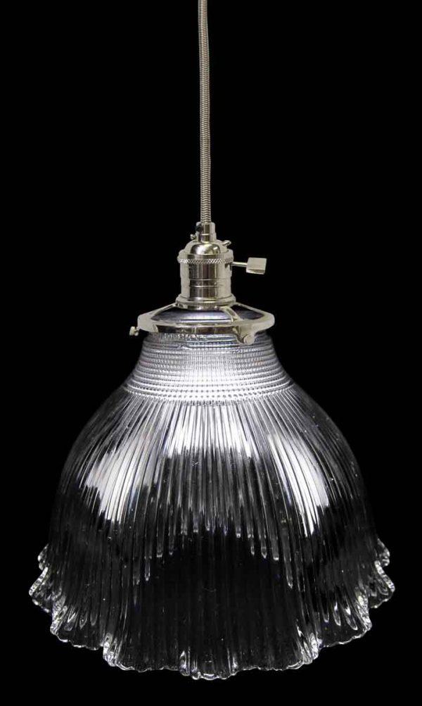 Down Lights - Custom 1920s Holophane 7 in. Clear Glass Pendant Light