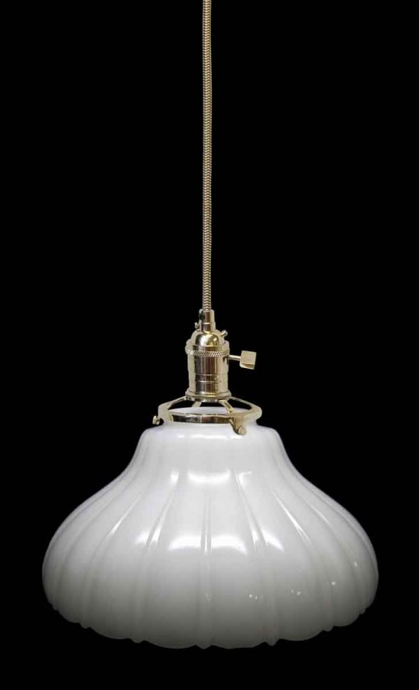 Down Lights - Custom 1920s White 11 in. Milk Glass Pendant Light