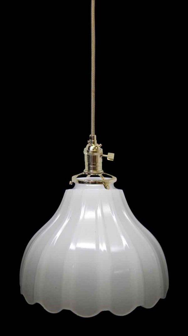 Down Lights - Custom 1920s White Milk Glass 8 in. Pendant Light