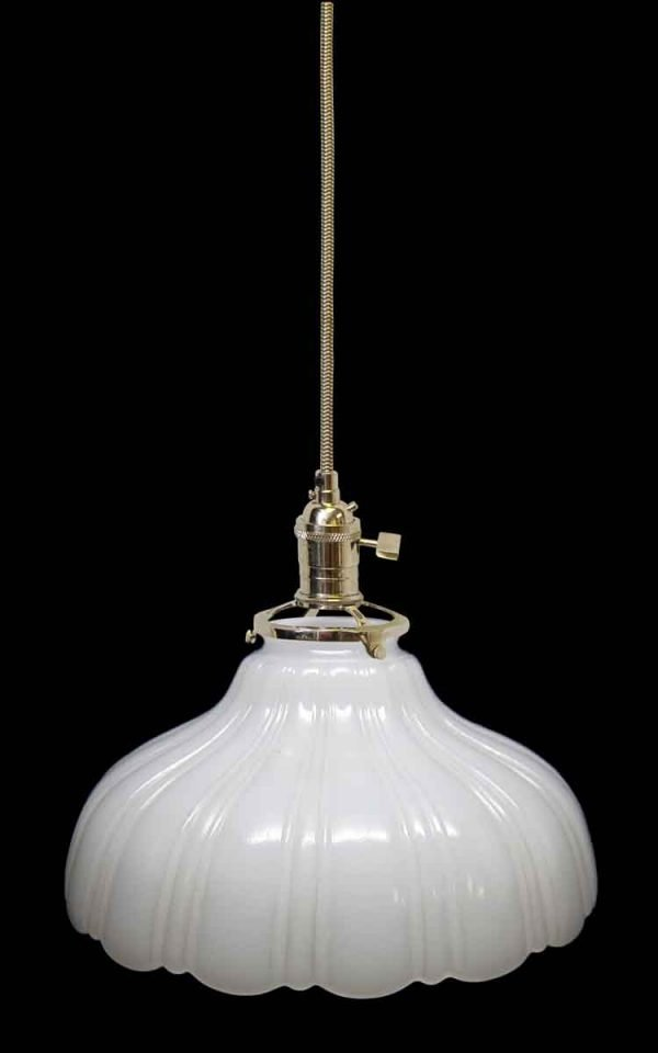 Down Lights - Custom 1920s White Milk Glass 8.5 in. Pendant Light