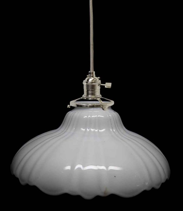 Down Lights - Custom 1920s White Milk Glass 8.625 in. Pendant Light
