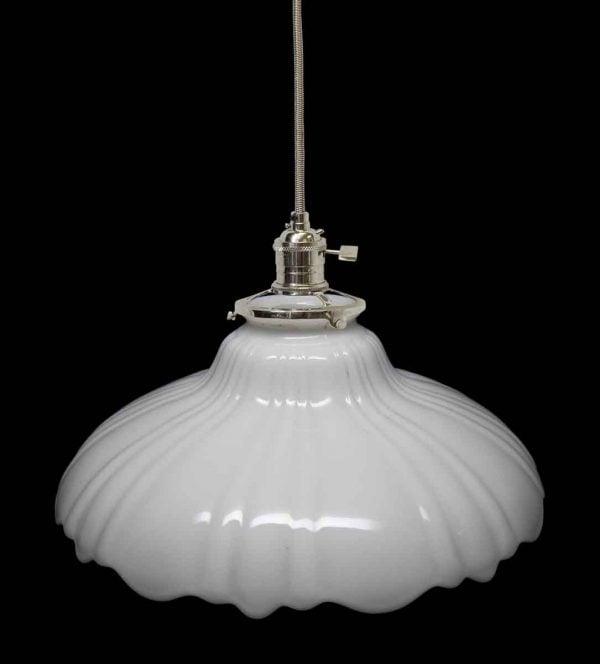 Down Lights - Custom 1920s White Milk Glass 9.125 in. Pendant Light