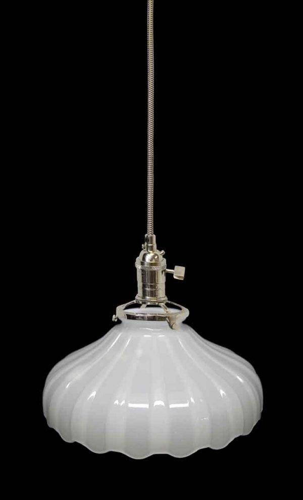 Down Lights - Custom Antique 1920s White Milk Glass 7.625 in. Pendant Light