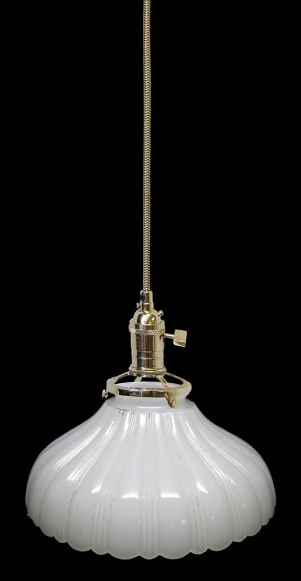 Down Lights - Custom Antique White Milk Glass 7.75 in. Pendant Light