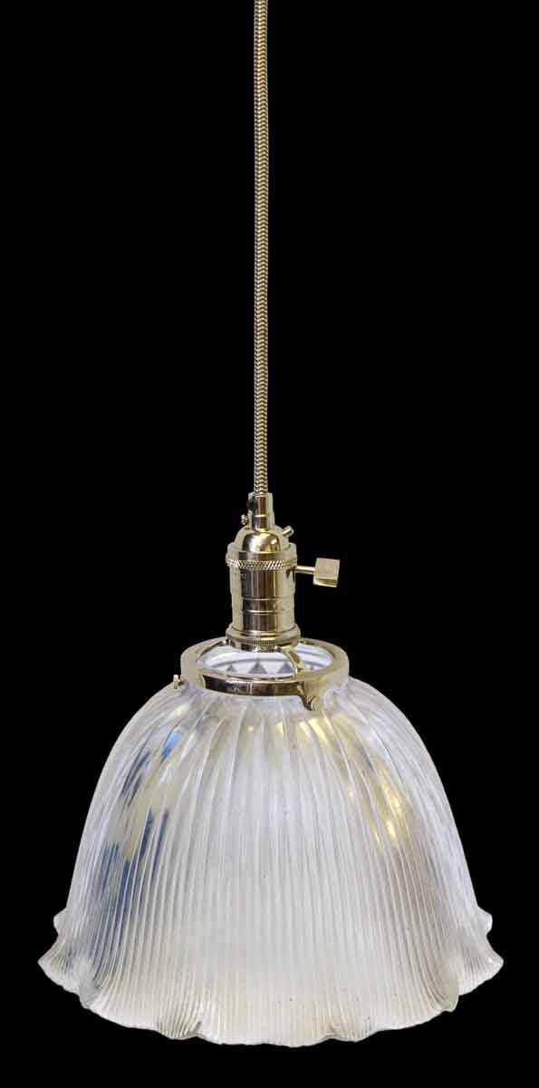 Down Lights - Holophane Antique 9.75 in. Ribbed Glass Pendant Light