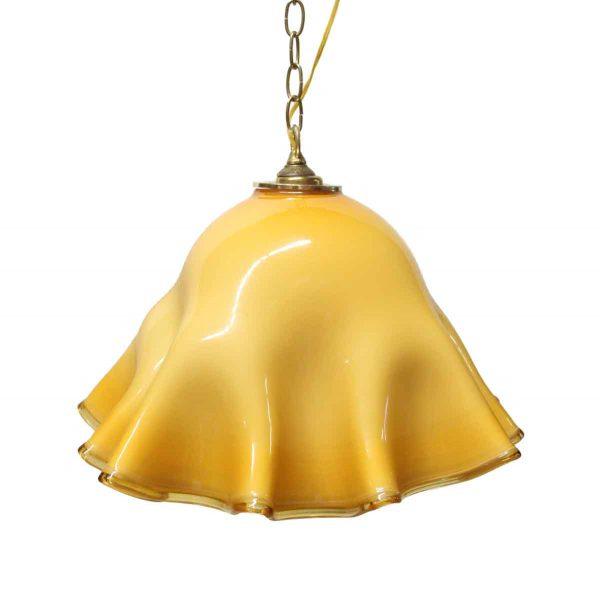 Down Lights - Modern Murano Glass Yellow Ruffled Pendant Light