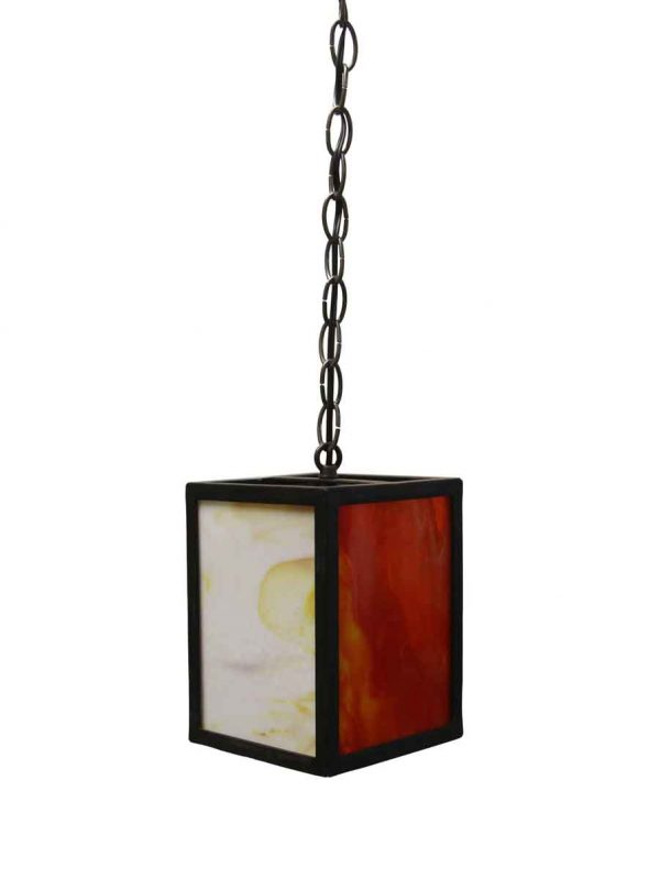 Down Lights - Modern Red & White Iron & Stained Glass Pendant Light