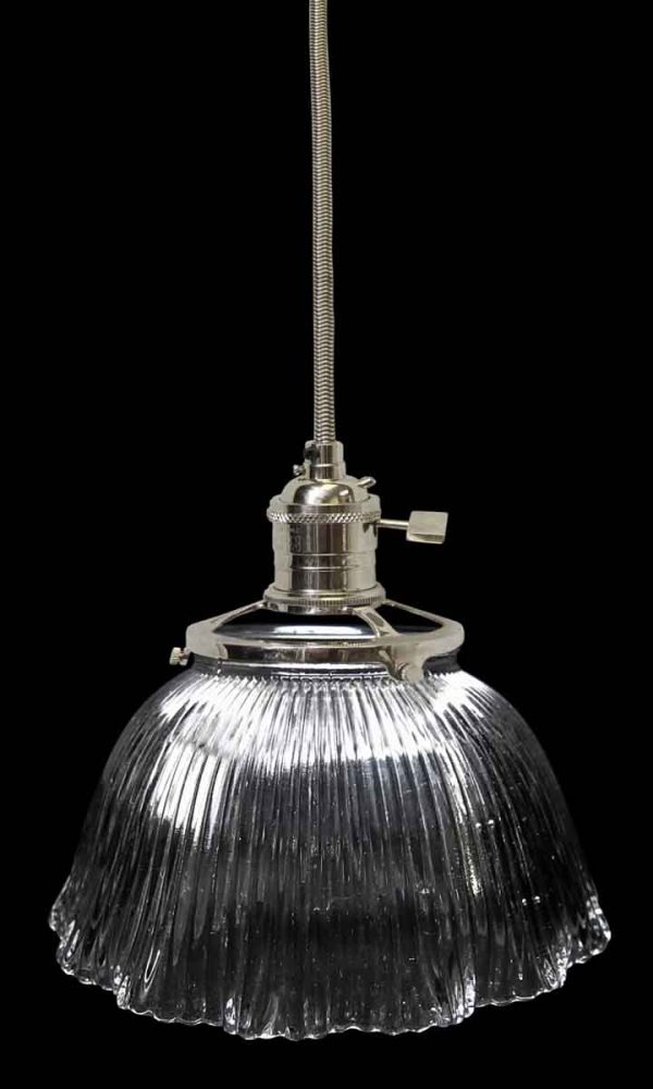 Down Lights - Original Ribbed 7 in. Holophane Prism Glass Pendant Light