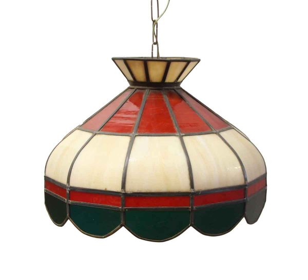 Down Lights - Traditional Red Tan & Green Stained Glass Pendant Light